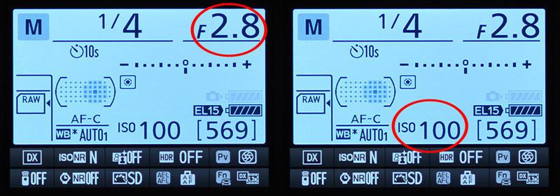 Images showing Aperture Value and the ISO value in the Camera settings on Nikon DSLR Cameras