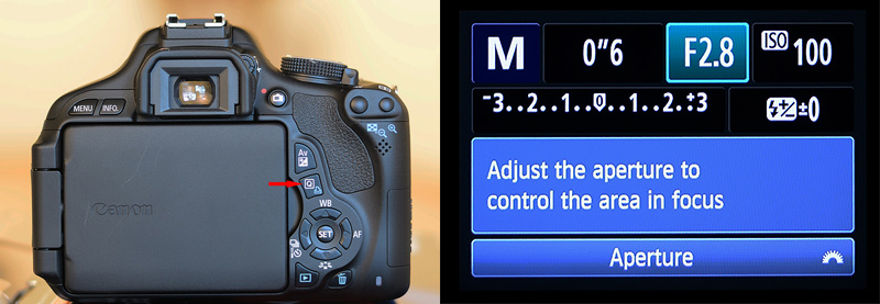 Quick Mode selection button on Canon Rebel T3i DSLR, to select Shutter Speed, Aperture and ISO