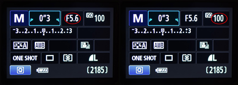Aperture setting and ISO settings displayed on the LCD screen of the Canon Rebel T3i DSLR