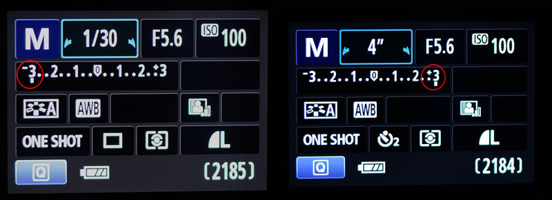 Camera Metering mode which shows if an image is overexposed or underexposed.