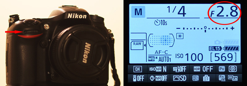 Image showing the aperture dial on Nikon D7100 DSLR which is used to change the aperture value to increase or decrease the depth of field and also to achieve proper exposure