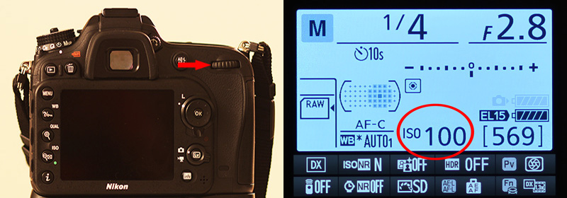 Secondary dial on Nikon D7100 DSLR which is used to change the ISO value to achieve the proper exposure.