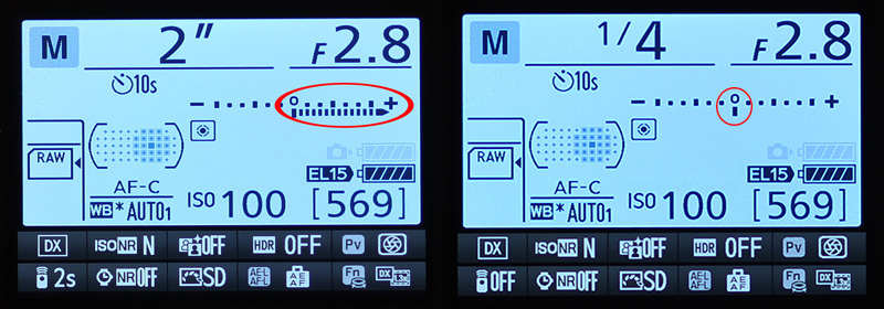 Camera Metering Mode showing overexposure and the proper exposure using the Manual mode on the Nikon D7100 DSLR