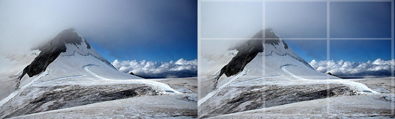 Digital Photography Composition: Rule of third grid overlay on a landscape photograph