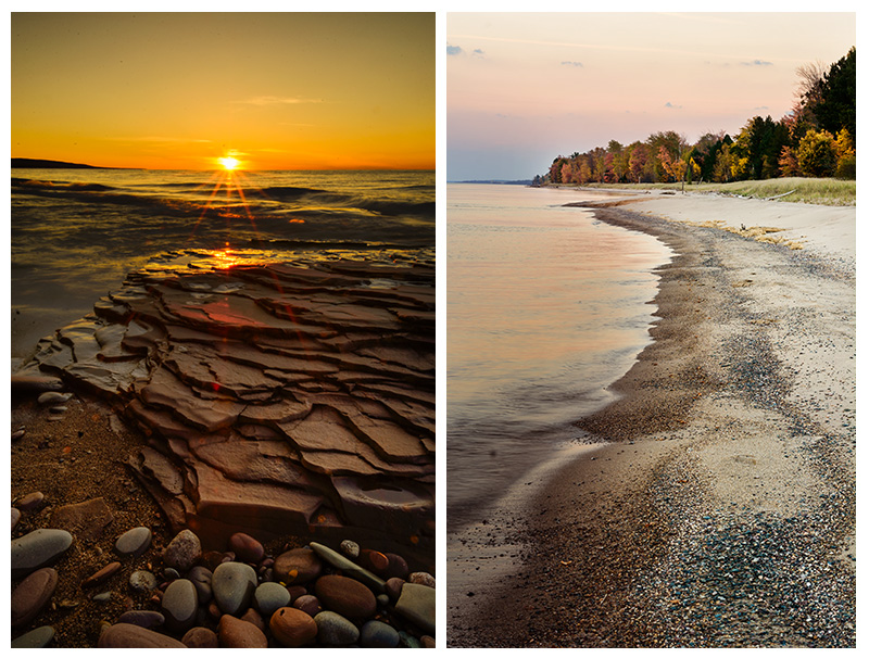 Rule of thirds photography composition techniques in the landscape photography. Sunset and Sunrise photographs of beach in Lake Superior and Porcupine Mountains Wilderness Park, Upper Peninsula, Michigan