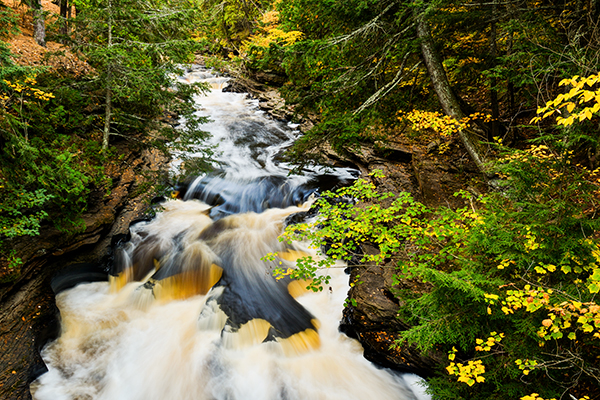 Waterfall Photography Tips. Presque Isle waterfalls in Porcupine Mountains Wilderness Park in Upper Peninsula, Michigan.