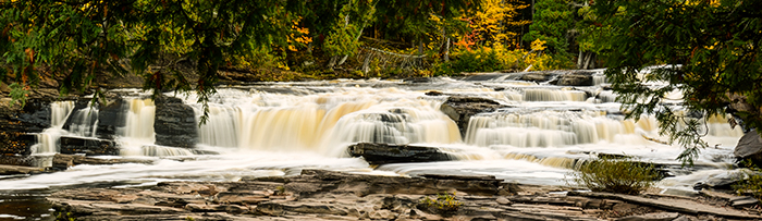 Waterfall Photography Tips. Manido waterfalls in Porcupine Mountains Wilderness Park in Upper Peninsula, Michigan.