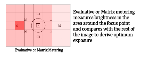 Canon and Nikon DSLR Camera Metering Modes. Image shows Evaluative or Matrix Metering Mode.