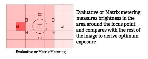Canon and Nikon DSLR Camera Metering Modes. Image shows Evaluative or Matrix Metering Mode.