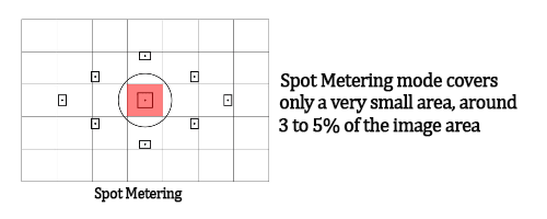 Canon and Nikon DSLR Camera Metering Modes. Image shows Spot Metering Mode.