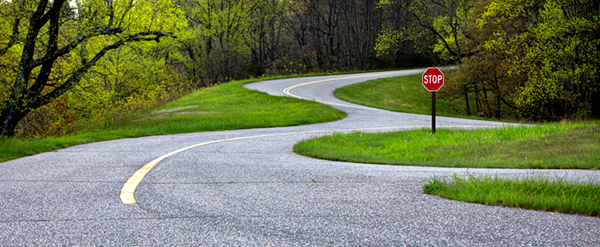 Leading Line combined with Rule of Thirds Photography Composition Technique. Winding Road in Blue Ridge Parkway, West Virginia.