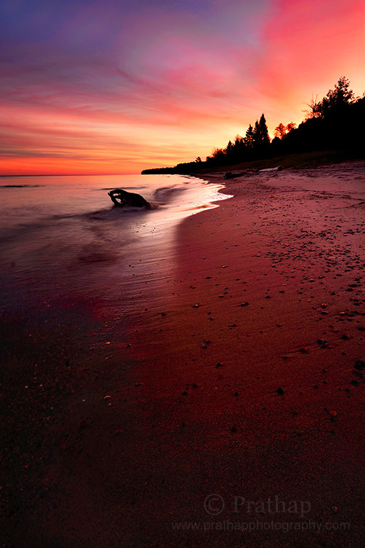 Best Nature Photos. Mesmerizing Sunrise at Lake Superior in Upper Peninsula, Michigan. The largest of the Great Lakes of North America. Nature, Wildlife, Bird, and Landscape Photography by Prathap.